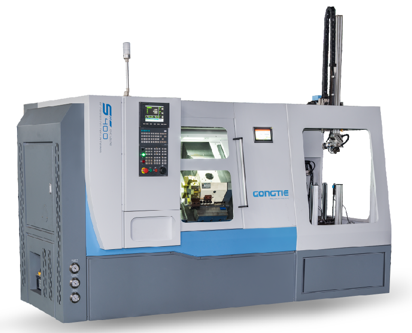 GONGTIE SLANT BED LATHE WITH 8-STATION ROTARY STOCKER